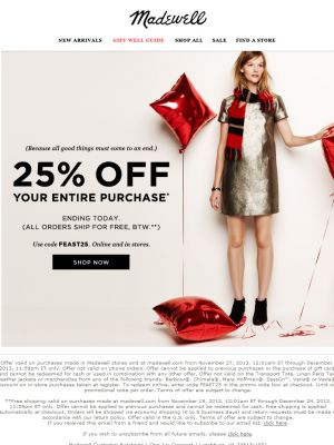 "Madewell Standout Subject Line (""There's an expiration date on this one"") - December 2, 2013"