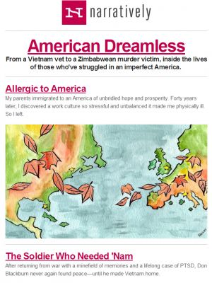 "Narratively Standout Subject Line (""Allergic to America"") - January 9, 2014"